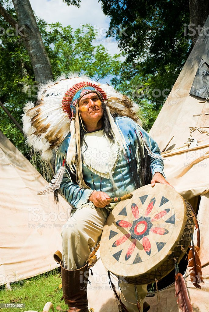 Indian Chief with Traditional Drums stock photo