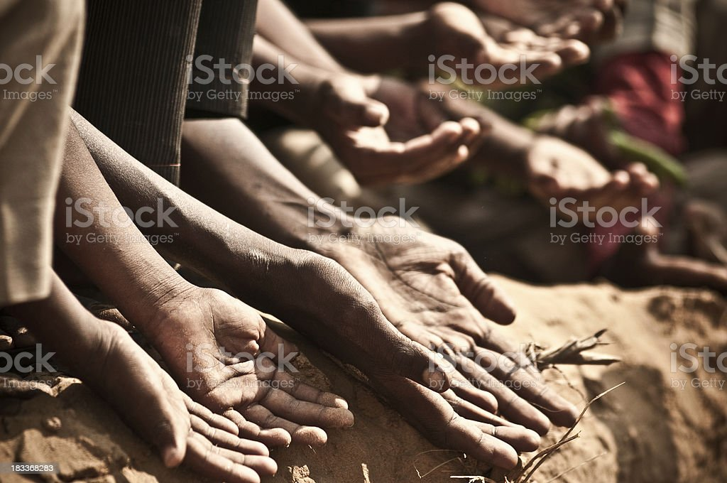 Indian children begging stock photo