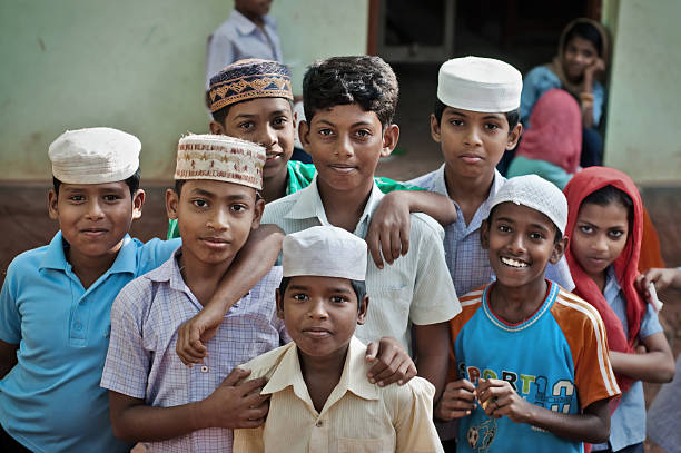 Indian children in muslim school stock photo