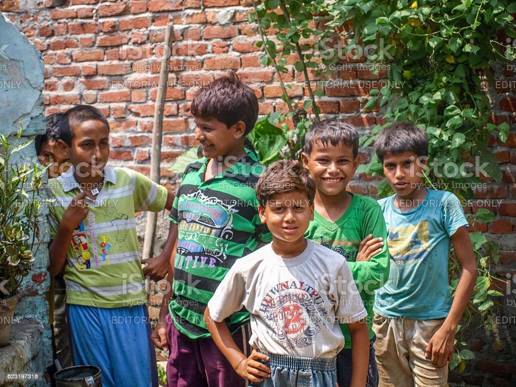 Indian children of slams smilimg stock photo