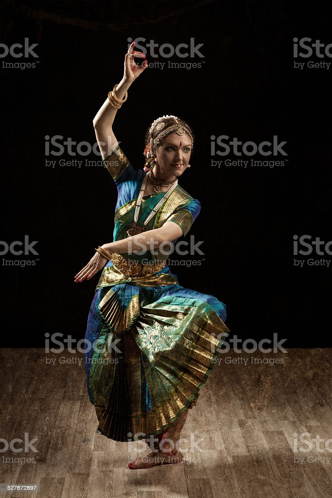 Indian classical dance Bharatanatyam dancer stock photo