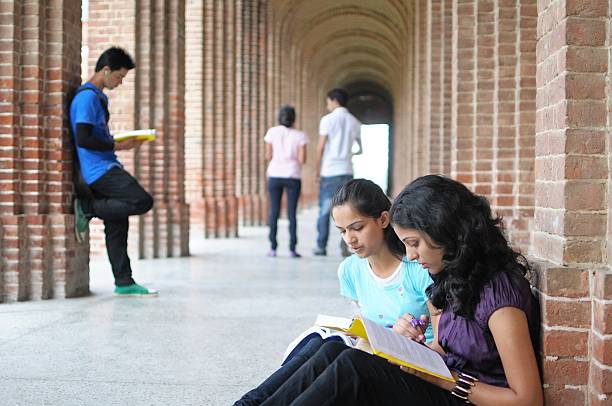 Indian College students preparing for examination. Group of Asian Students studying in college. college fair stock pictures, royalty-free photos & images