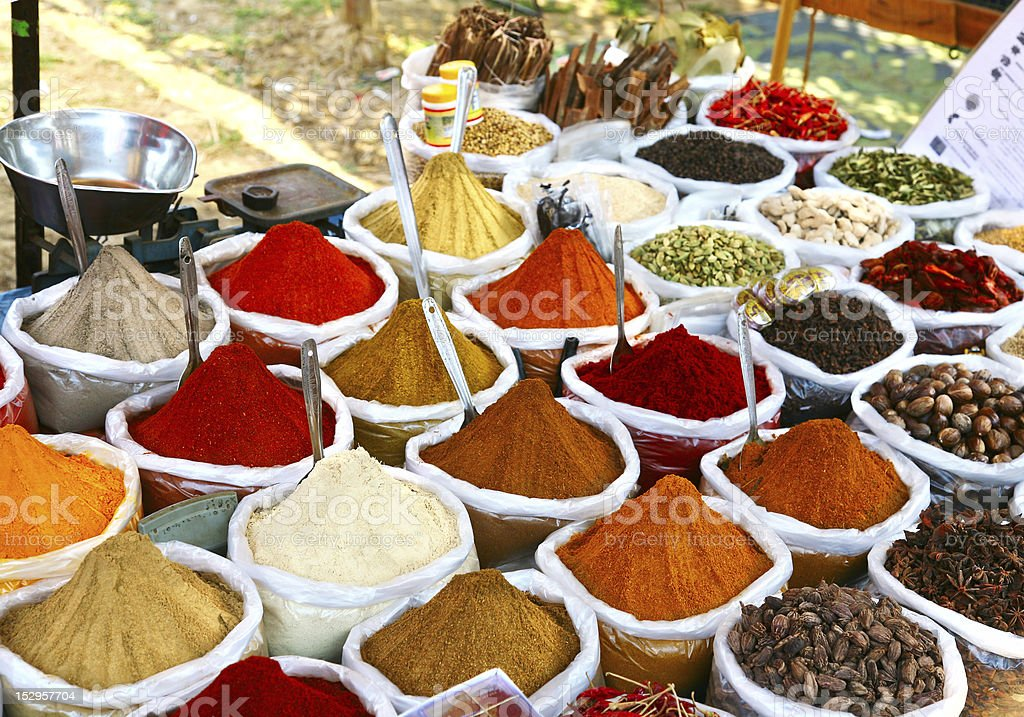 Indian colored powder spices stock photo