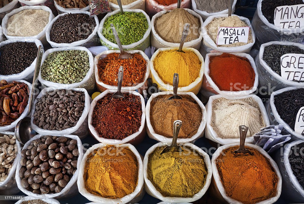 Indian colored spices stock photo