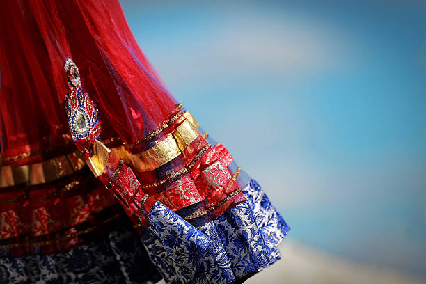 Indian colorful dress with beads crystals at culture festival market stock photo