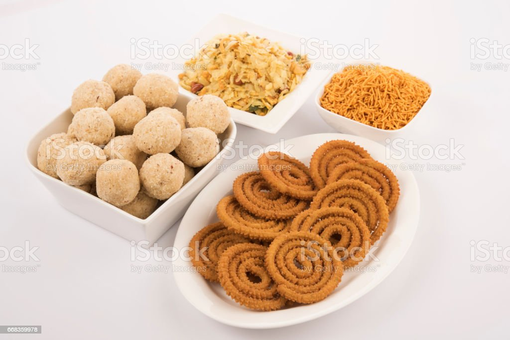 Indian Colorful  Sweets for Diwali and Indian snack farsan or chivda of pharsan stock photo