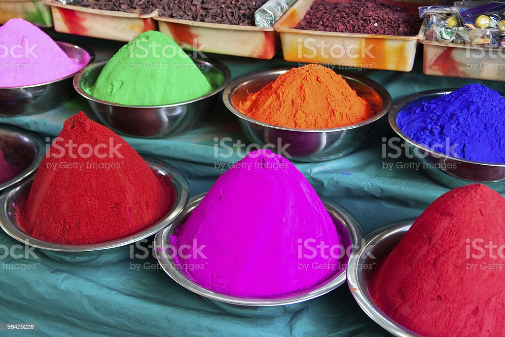 Indian coloured powders royalty-free stock photo