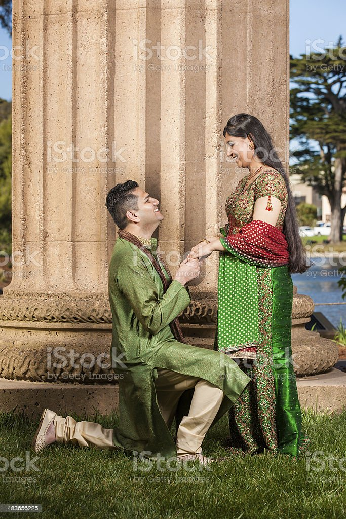 Indian Couple Marriage Proposal stock photo