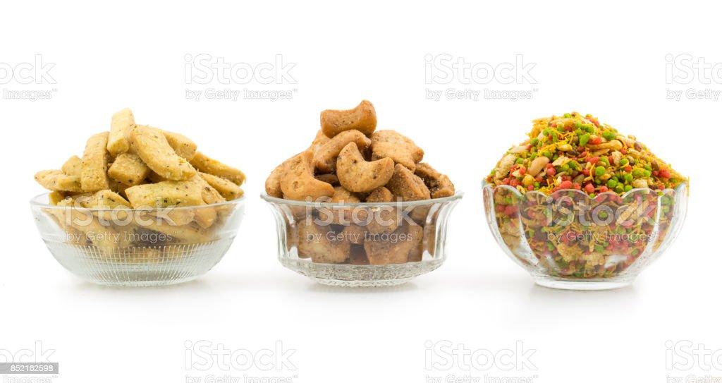 Indian Cuisine Cashew Nut, Bhakarwadi Snack, Navratan Mixture stock photo