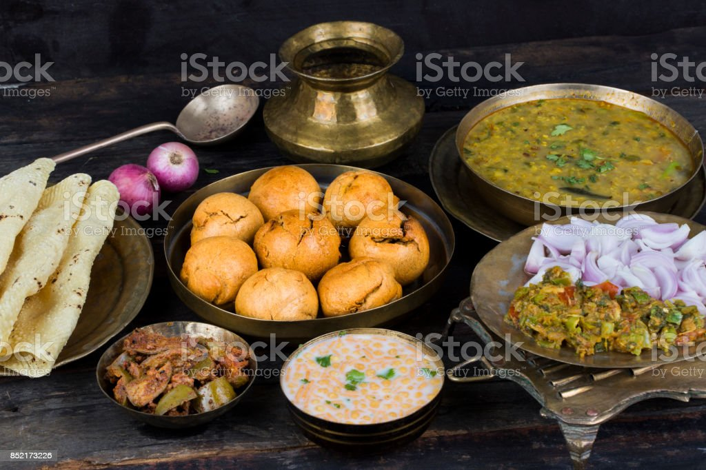 Indian Cuisine Dal Baati stock photo