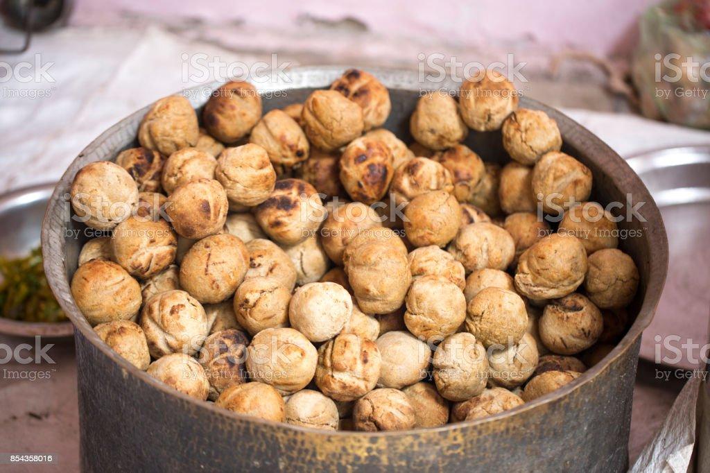 Indian Cuisine Dal Baati stock photo