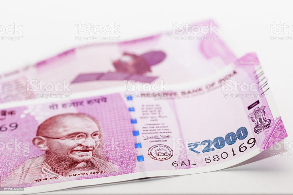 Indian Currency 2000 Rs Note stock photo