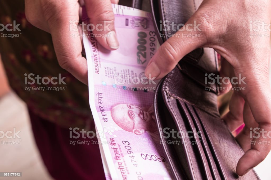 Indian currency and wallet 免版稅 stock photo