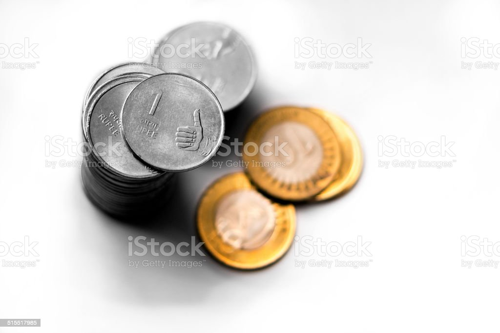 Indian Currency Coins stock photo