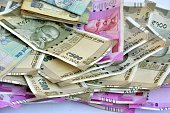 istock Indian currency in a white background 879008460