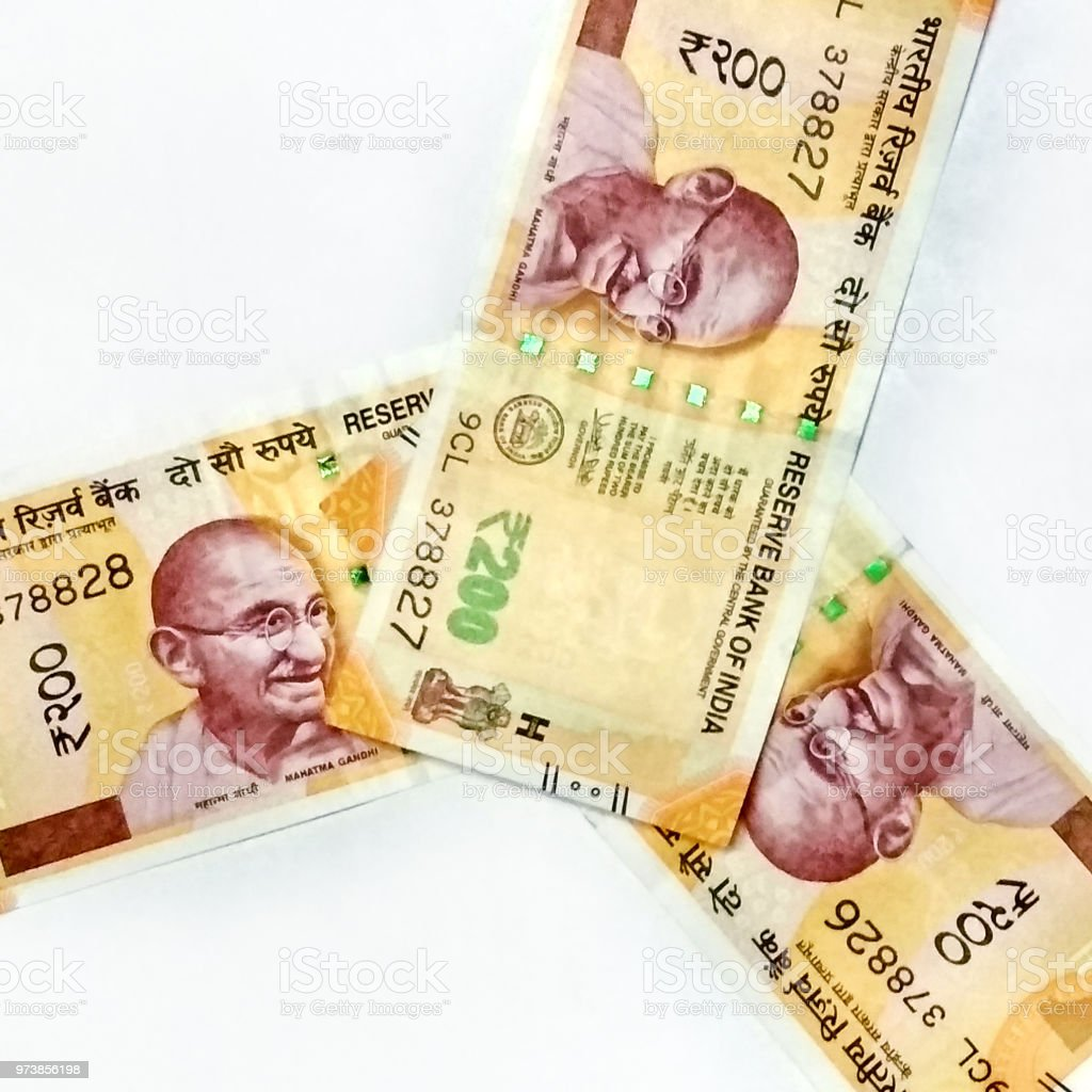 Indian Currency Of 200 Rupee Notes Stock Photo & More Pictures of