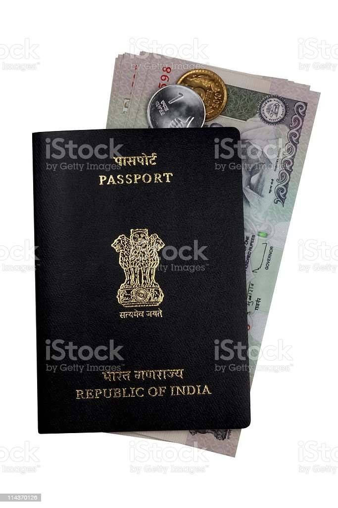 Indian Currency Rupee Notes, Coins and Passport royalty-free stock photo
