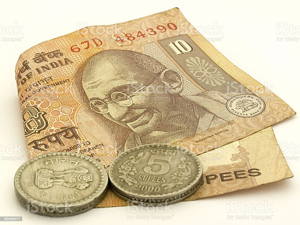 Indian currency ten ruppes isolated stock photo