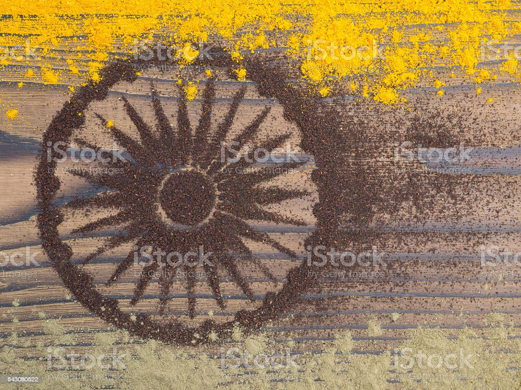 Indian curry and tea powder form India flag stock photo