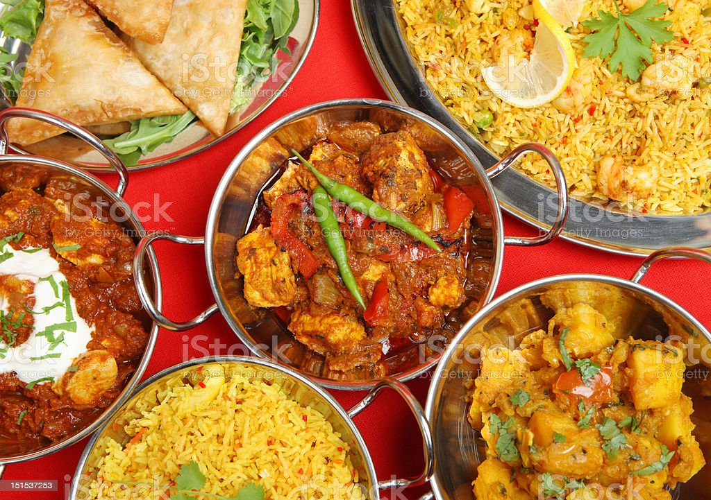 Indian Curry Meal Banquet stock photo