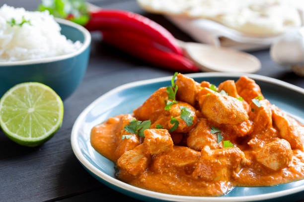 Indian Curry Meal Indian Curry Meal butter chicken stock pictures, royalty-free photos & images