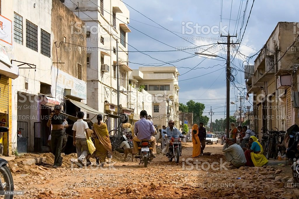 Indian daily city life - busy street scene Developing Country royalty-free stock photo
