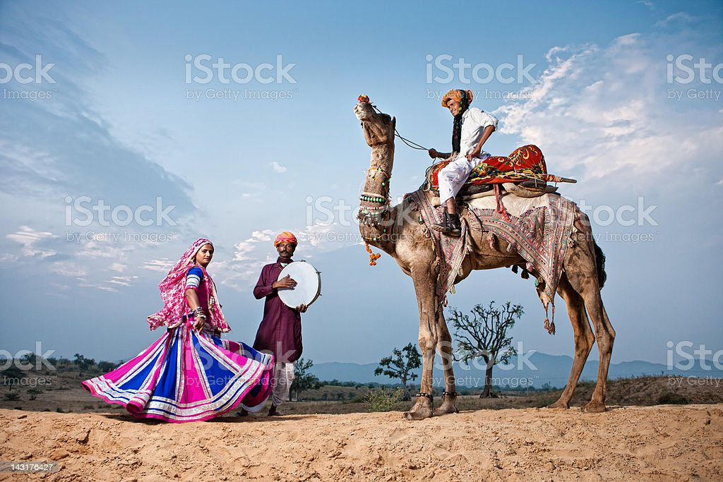 Indian Dancer And Musicians stock photo