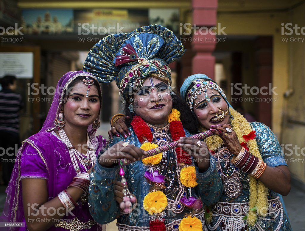 Indian Dancers dressed up as Krishna royalty-free stock photo