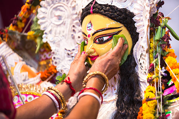 Indian Deity : Goddess Durga during Durga Puja festival stock photo