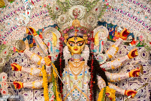 An Indian Deity : Goddess Durga. Durga worship is a yearly event and these deities are created every year and immersed in a river every year after the completion of the 5-day event.