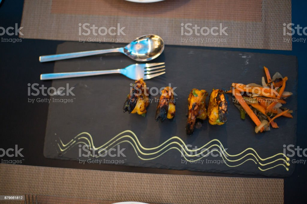 Indian dish plated in restaurant stock photo