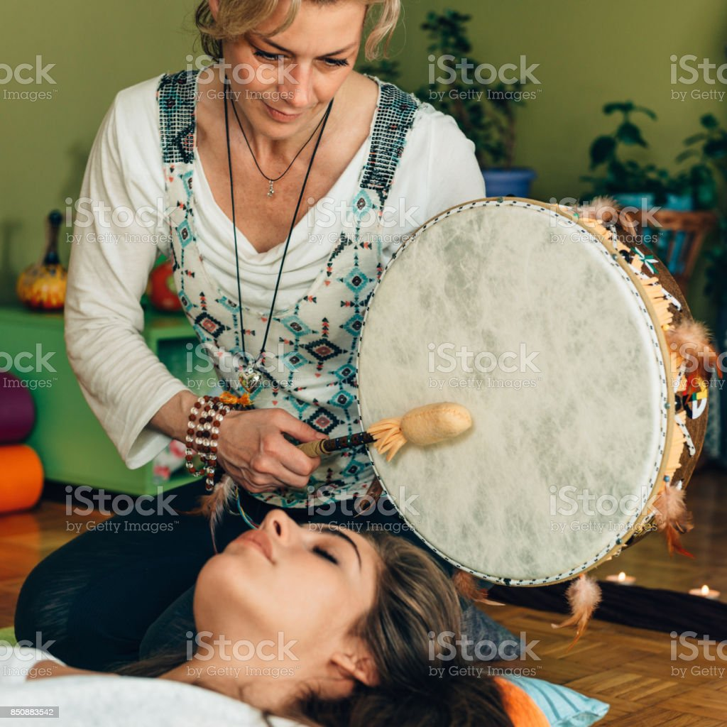 Indian drum in sound therapy stock photo