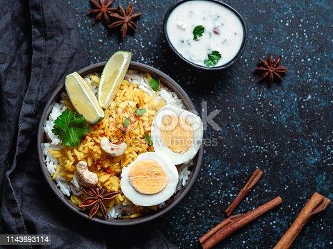 istock Indian Egg Biryani or anda rice, copy space 1143693114