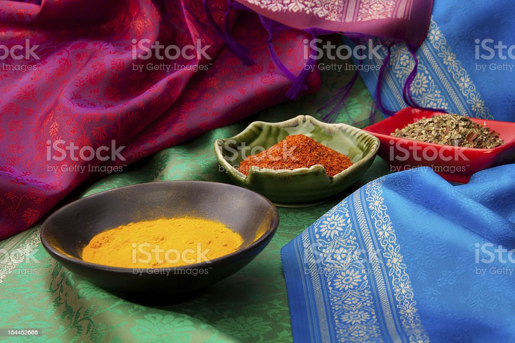 Indian fabric and spices royalty-free stock photo