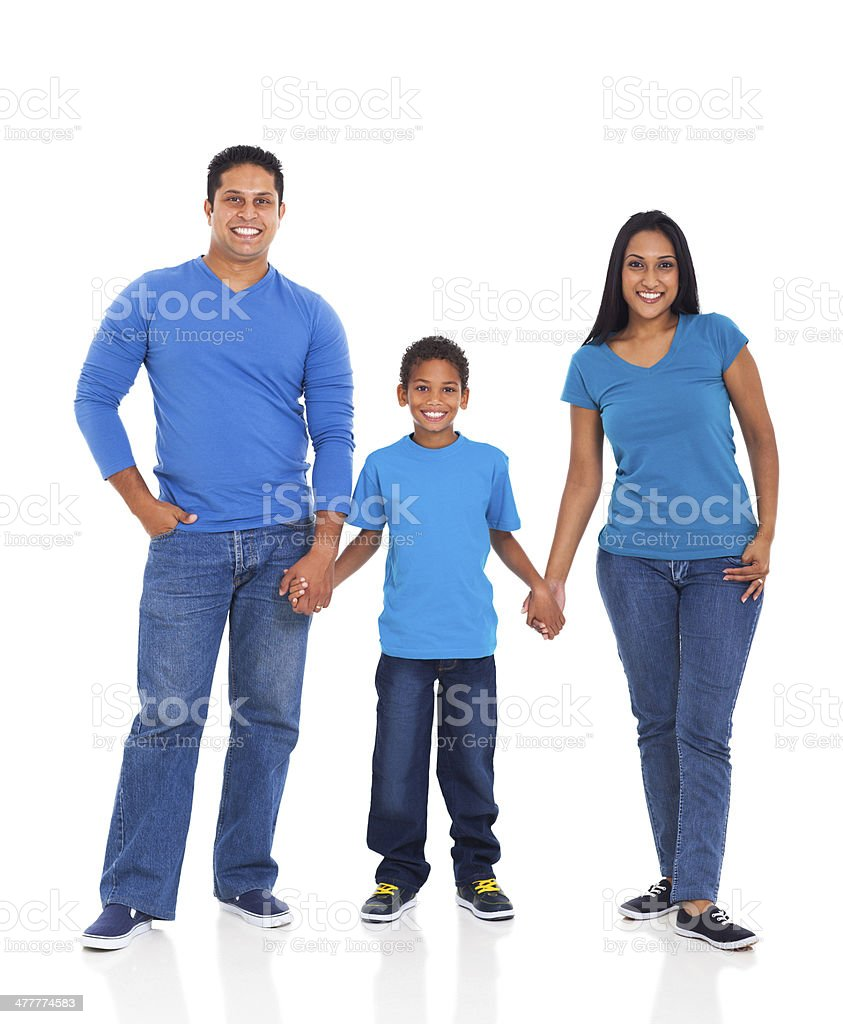 indian family holding hands stock photo