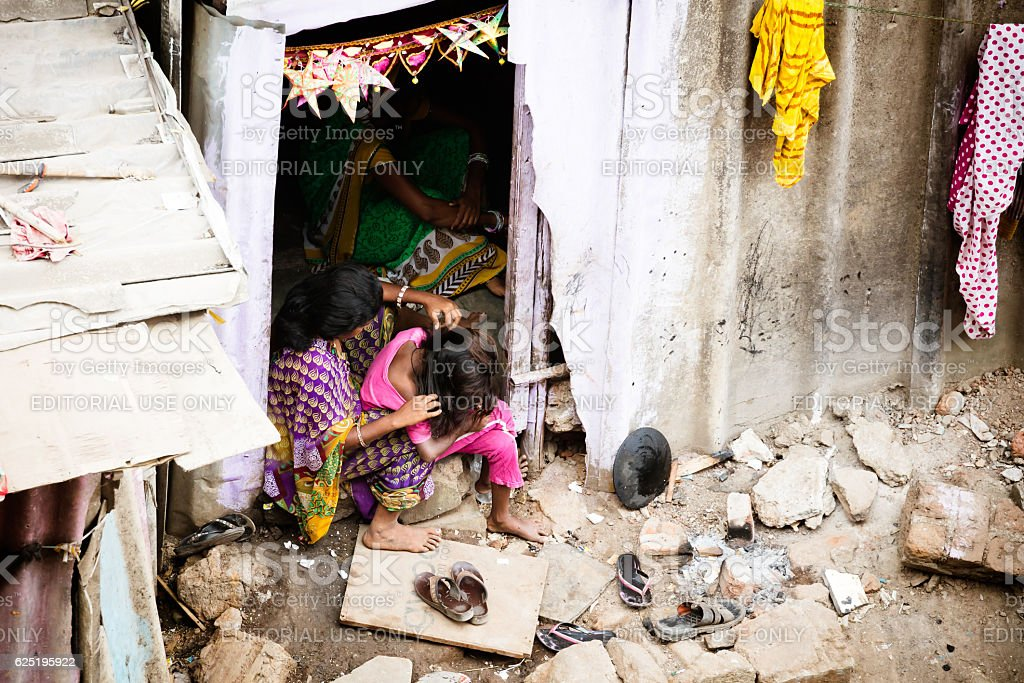 Indian Family in a Slum stock photo