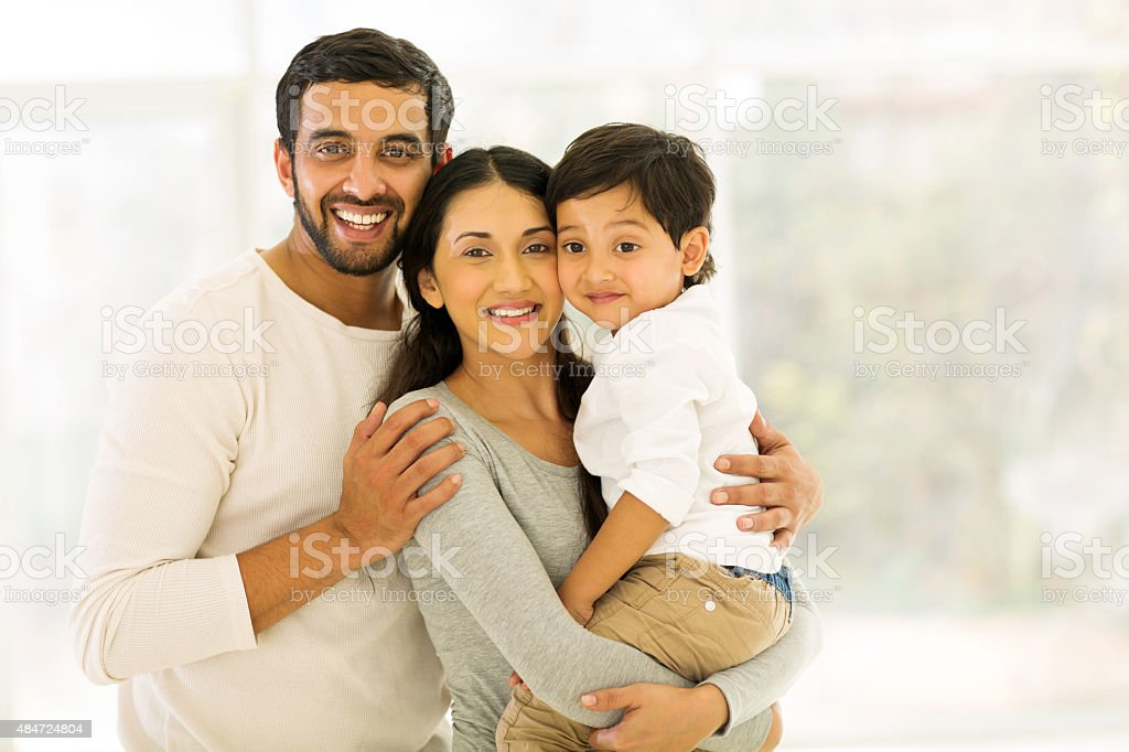 indian family of three stock photo