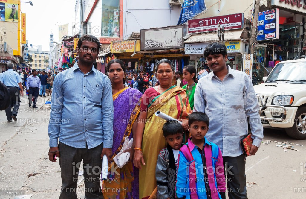 Indian family on Russell Market in Bangalore stock photo