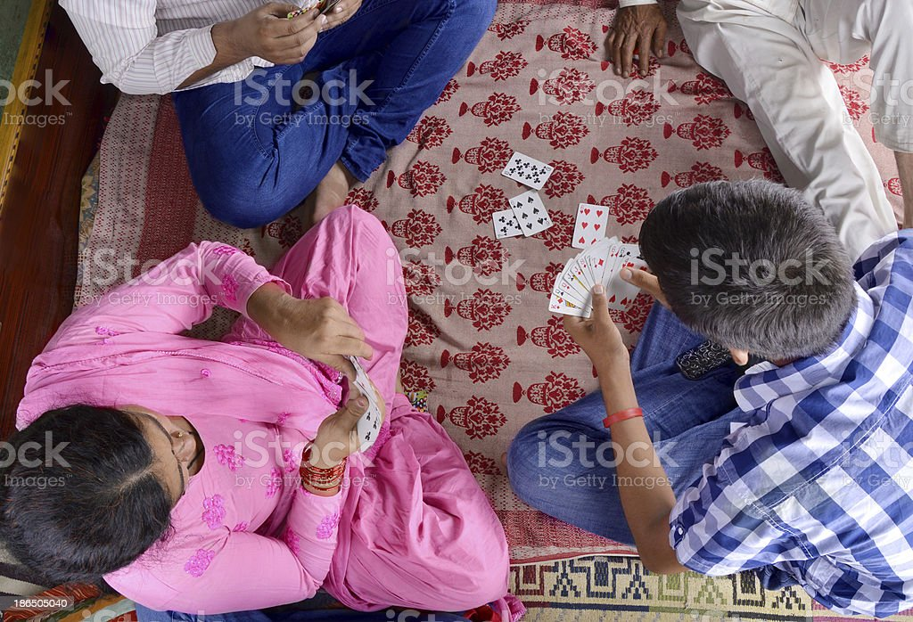 Indian Family Playing Cards royalty-free stock photo