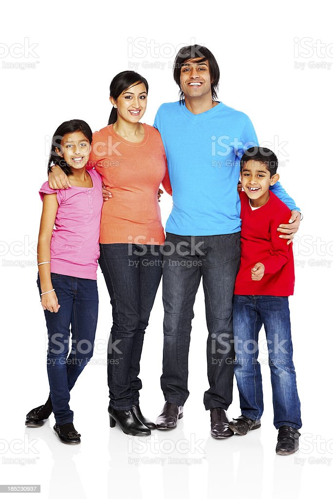 Indian family standing together isolated on white stock photo