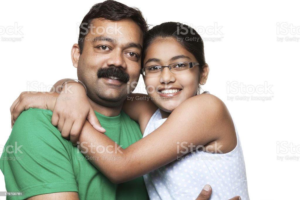 indian father and daughter royalty-free stock photo