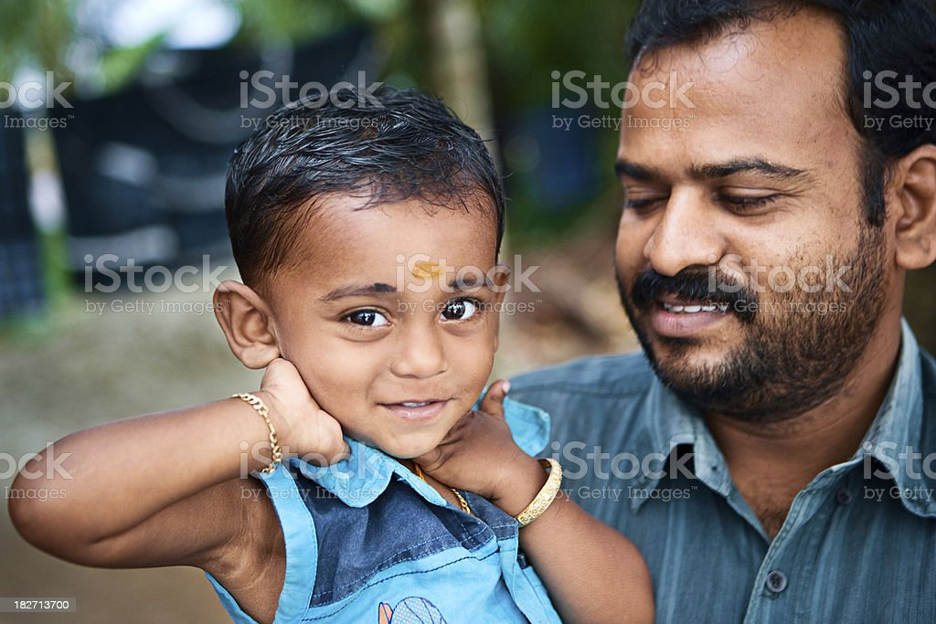 Indian father and his son royalty-free stock photo