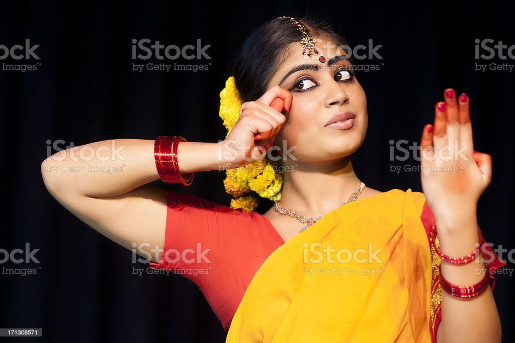 Indian Female Classical Dancer Bharata Natyam stock photo