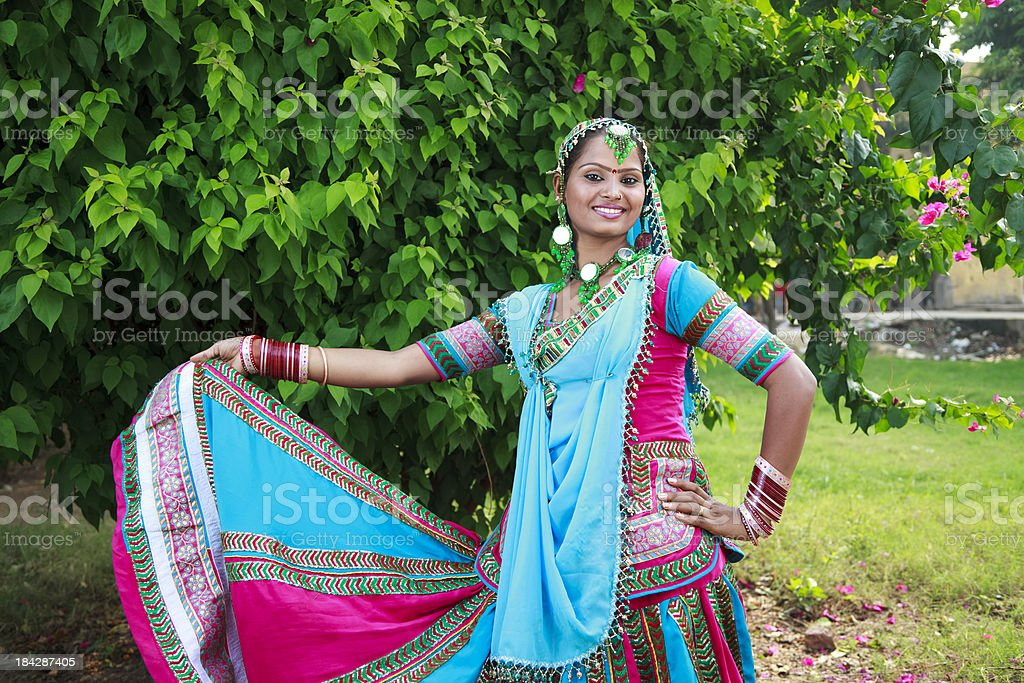 Indian Female Folk Dancer In Traditional Dress royalty-free stock photo