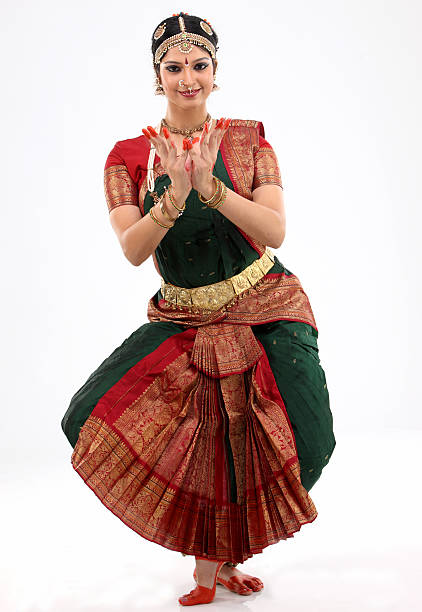 indian female performing dance - classical style stock photos and pictures