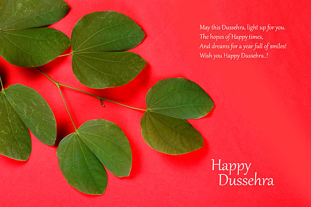 Royalty free dussehra pictures images and stock photos istock indian festival dussehra showing golden leaf greeting card stock photo m4hsunfo