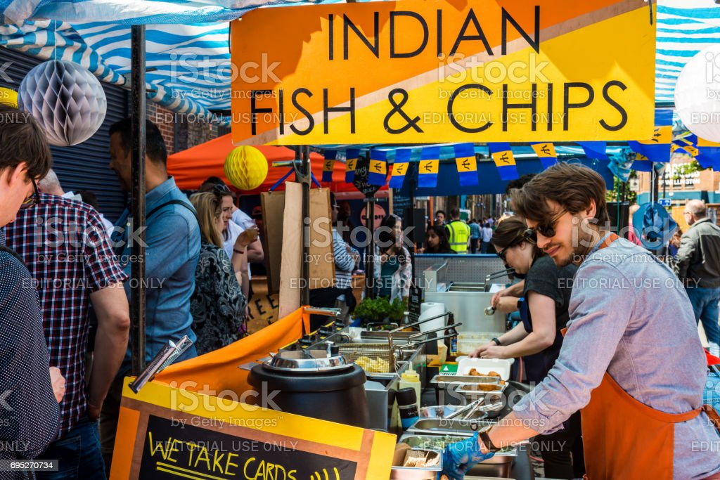 Indian Fish and chips stock photo