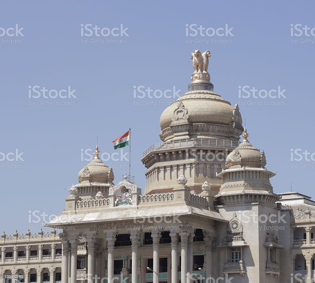 Indian flag and emblem royalty-free stock photo