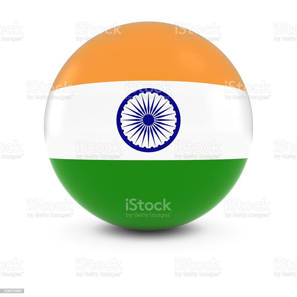 Bandeira Indiana bola-bandeira da Índia na esfera de isolamento - foto de acervo