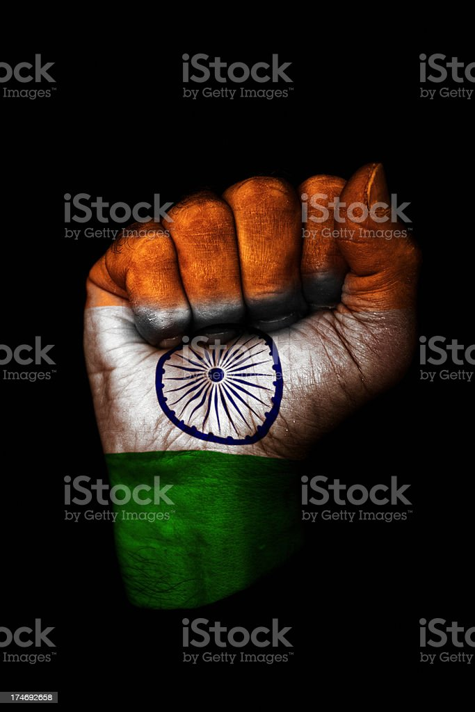 Indian Flag Fist stock photo